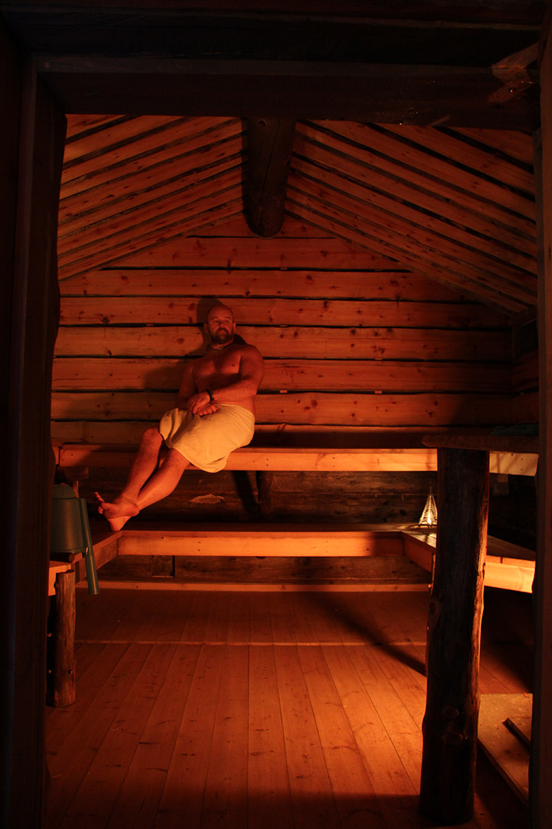 Johan relaxing in the Sauna. Kangos Swedish Lapland