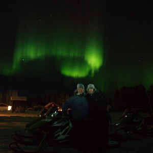 Northern Light over guests at Wärdshuset