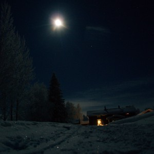 Winter mooon over the Guesthouse