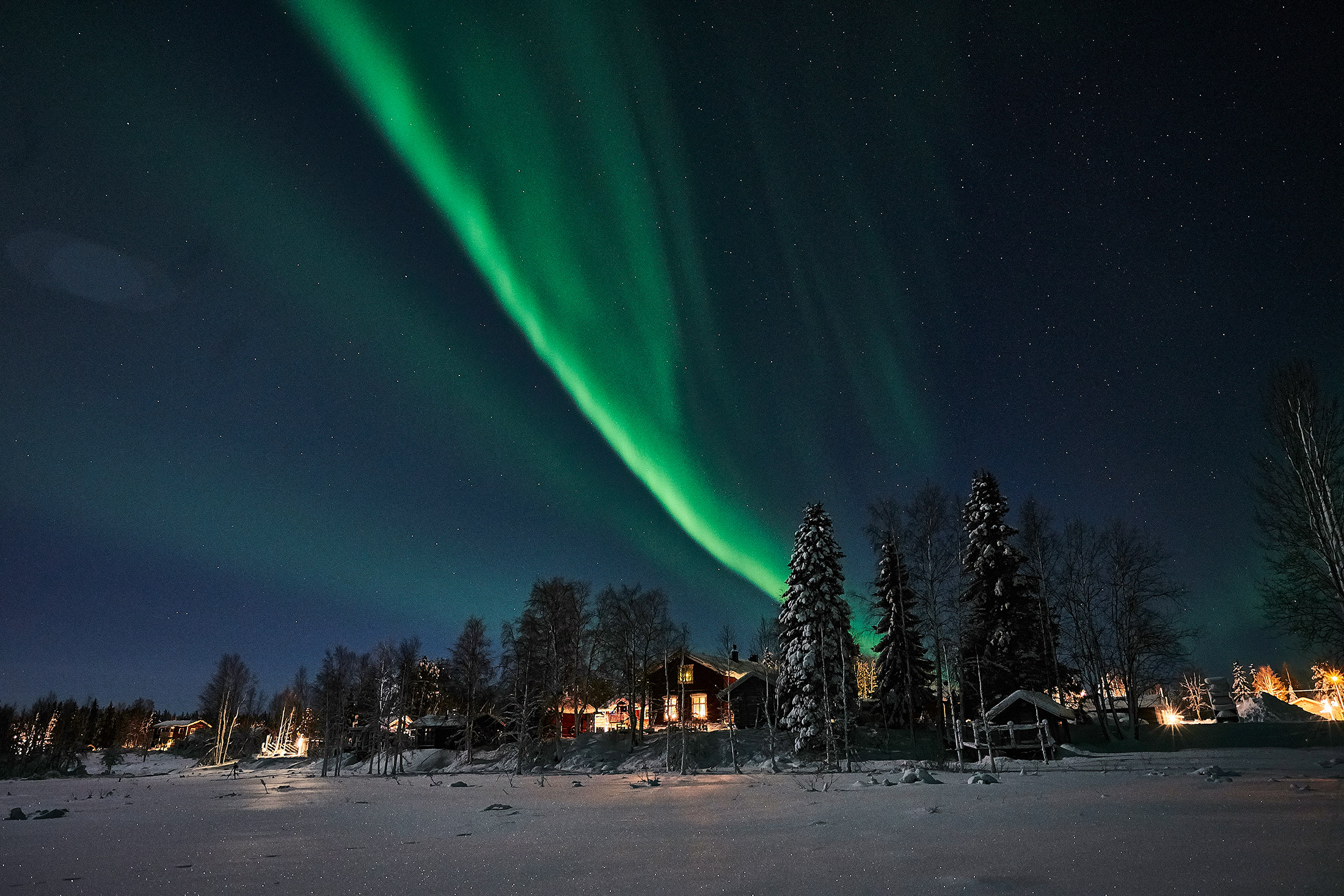 The Guesthouse from ice northern lights