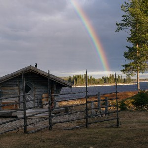 Sauna and rainbow Lainio-river