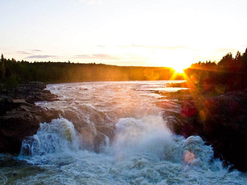 Storforsen waterfall in Lapland