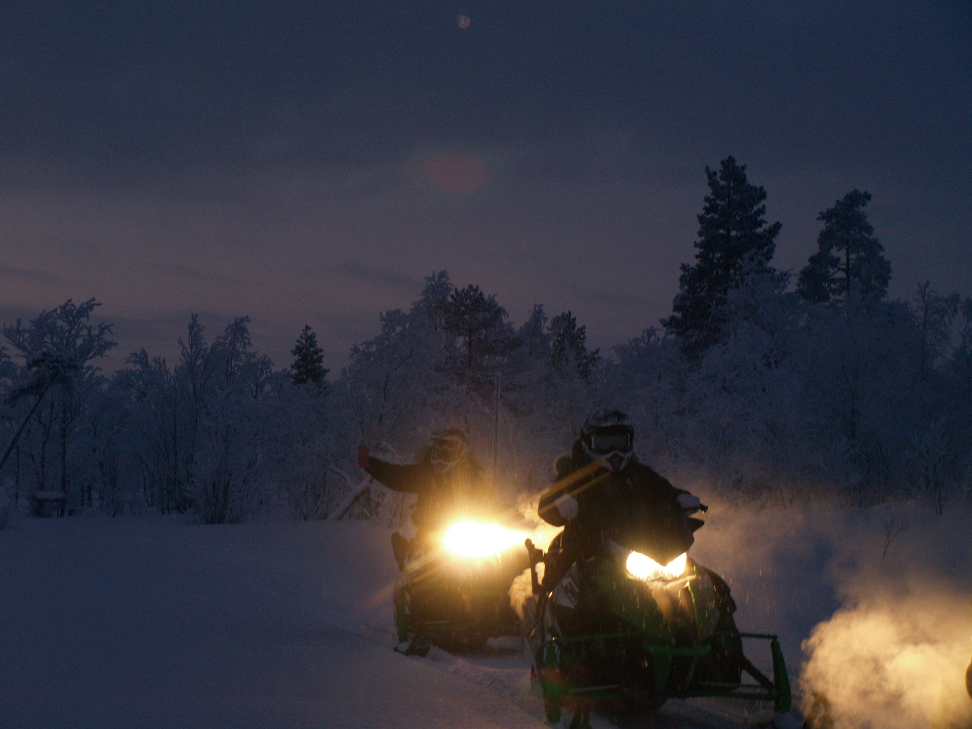 Returning from Snowmobile safari