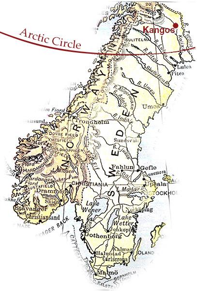 Arctic Circle map Kangos