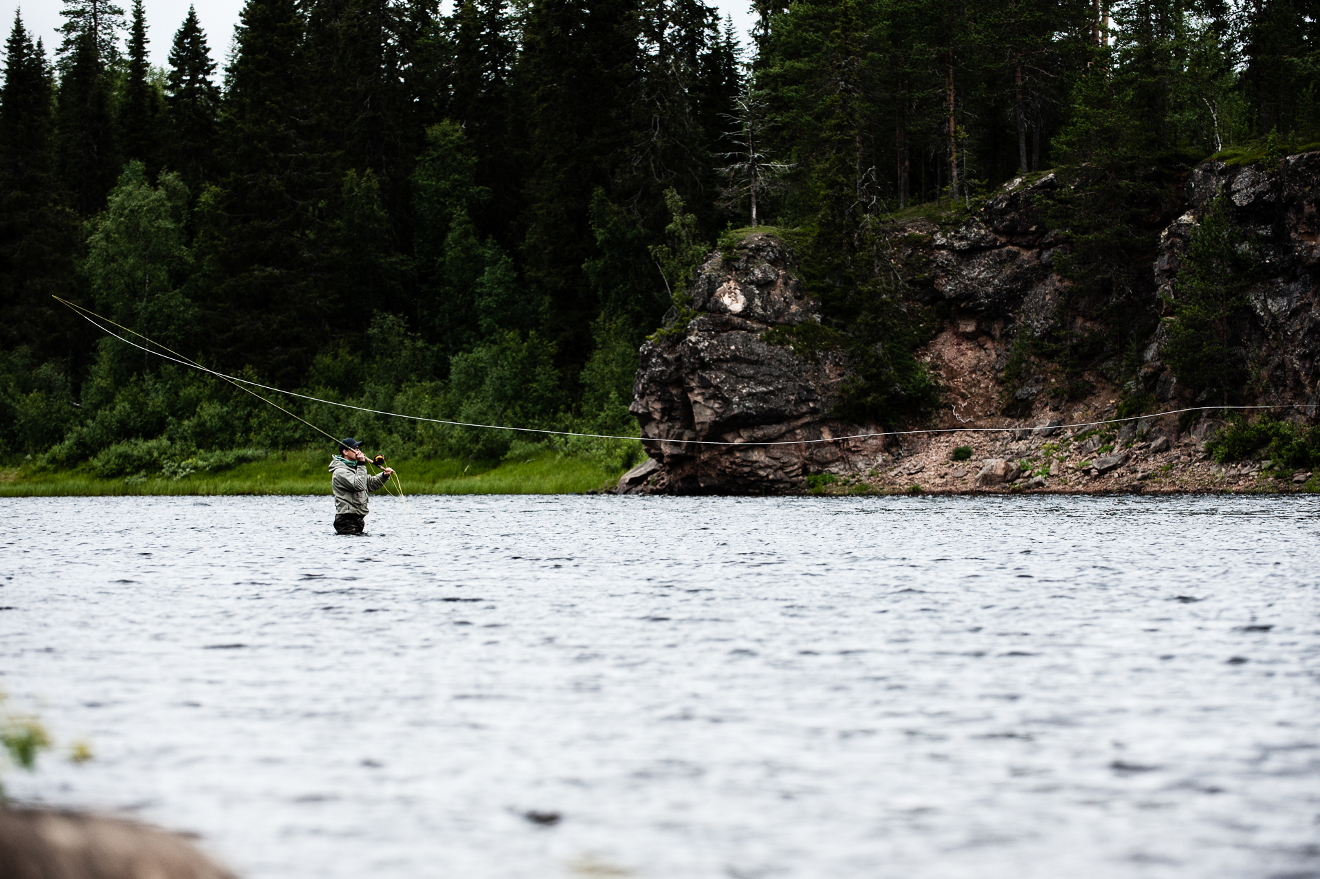 Salmon fly fishing Swedish Lapland