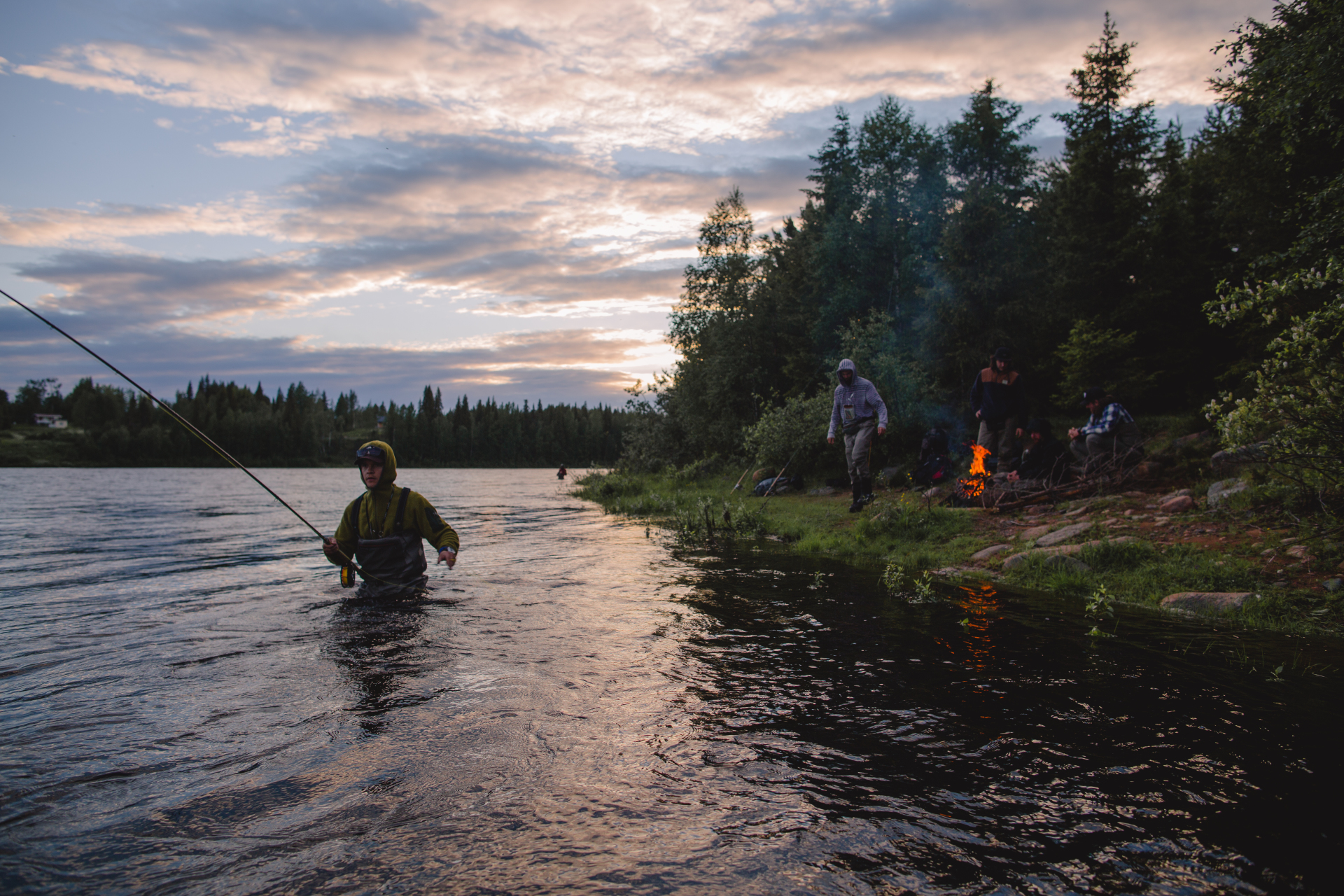 Night fishing in Laino river Swedish Lapland