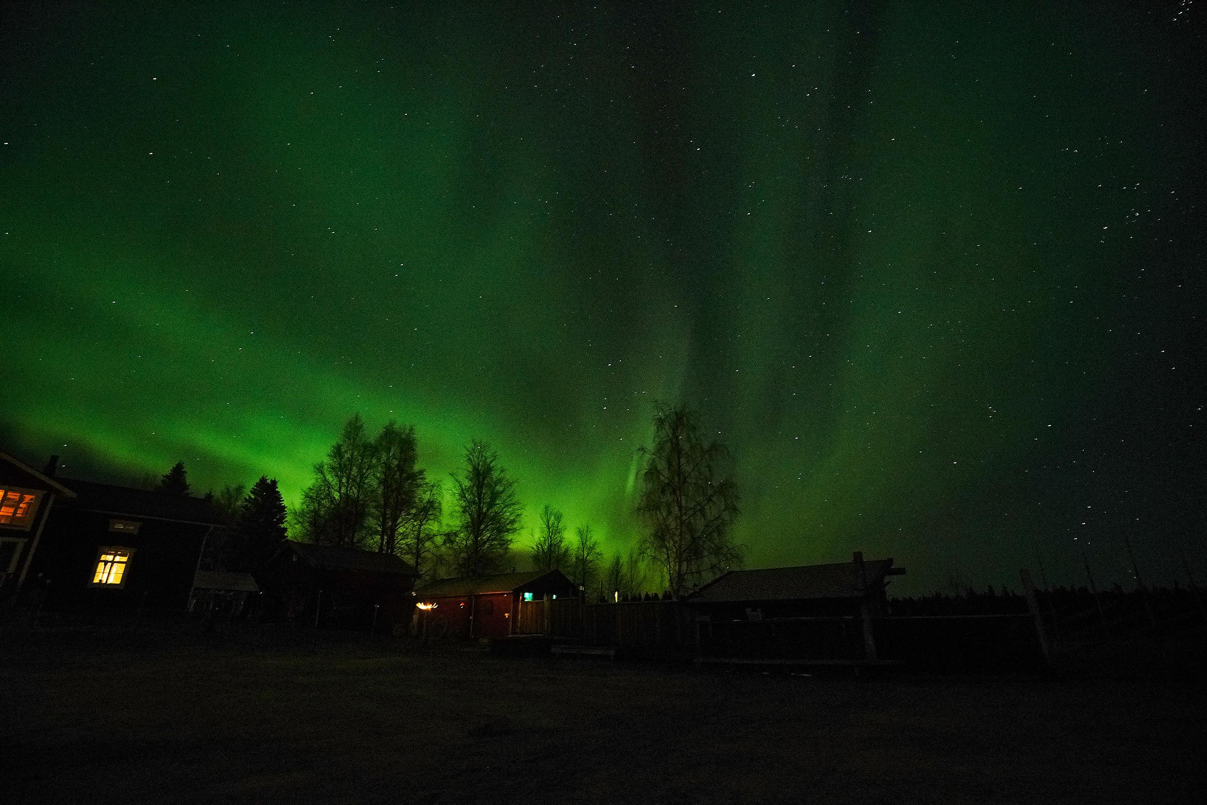Bastu - norrsken - stjärnor